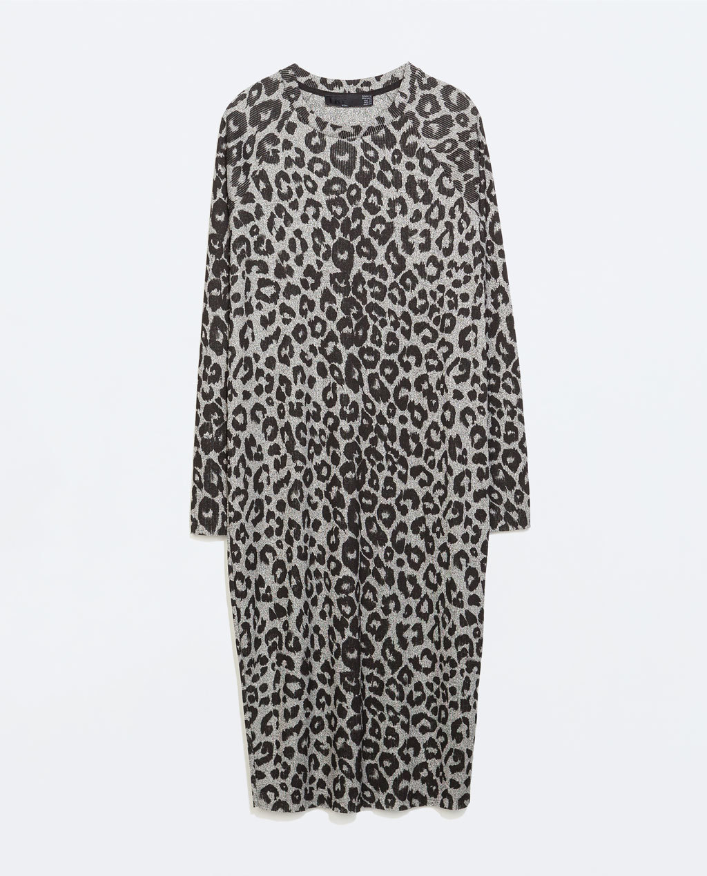 Printed Velour Dress - style: jumper dress; neckline: round neck; predominant colour: mid grey; secondary colour: black; occasions: casual, evening; length: on the knee; fit: body skimming; fibres: viscose/rayon - stretch; sleeve length: long sleeve; sleeve style: standard; pattern type: knitted - other; pattern size: standard; pattern: animal print; texture group: velvet/fabrics with pile; season: a/w 2014