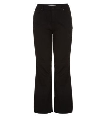 Curves 26 36in Black Bootcut Jeans - length: standard; pattern: plain; pocket detail: large back pockets, pockets at the sides, traditional 5 pocket; waist: mid/regular rise; predominant colour: black; occasions: casual, creative work; fibres: cotton - mix; fit: bootcut; texture group: woven light midweight; style: standard; season: a/w 2014