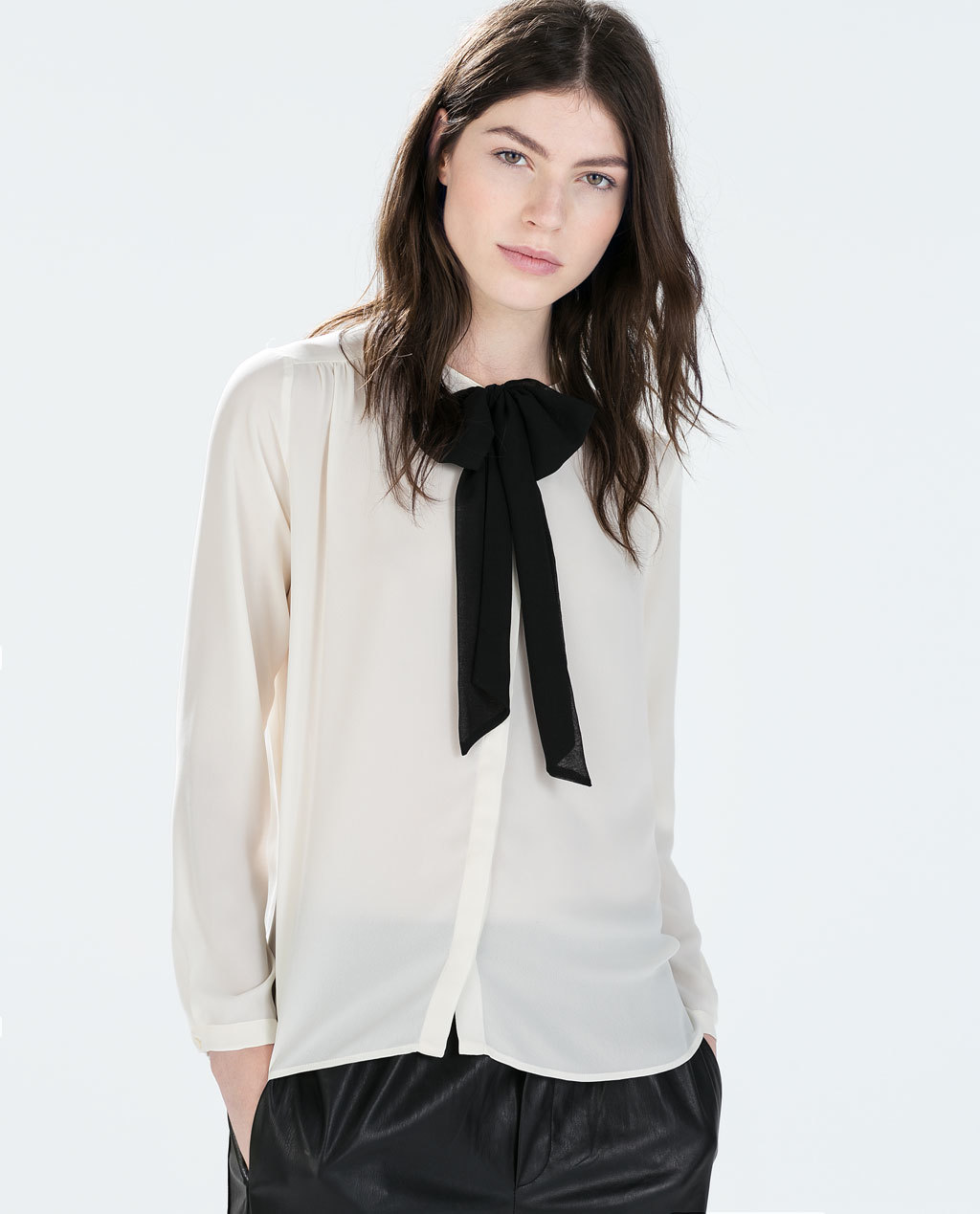 Contrast Collar Blouse With Bow - pattern: plain; neckline: pussy bow; style: blouse; predominant colour: ivory/cream; secondary colour: black; occasions: casual, work, creative work; length: standard; fibres: polyester/polyamide - 100%; fit: straight cut; sleeve length: long sleeve; sleeve style: standard; texture group: sheer fabrics/chiffon/organza etc.; season: a/w 2014