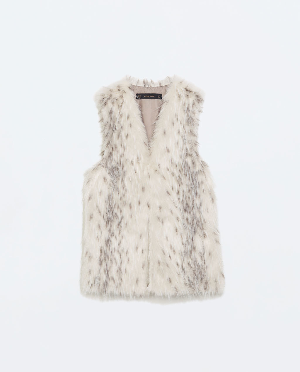 Long Fur Vest - sleeve style: sleeveless; style: gilet; collar: round collar/collarless; predominant colour: ivory/cream; secondary colour: light grey; occasions: casual, creative work; length: standard; fit: straight cut (boxy); sleeve length: sleeveless; texture group: fur; collar break: medium; pattern type: fabric; pattern size: light/subtle; pattern: animal print; season: a/w 2014; trends: warm and fuzzy