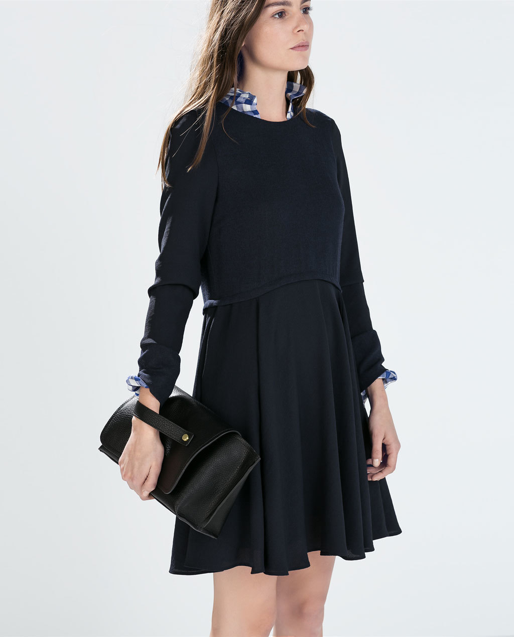 Long Sleeved Flared Dress - length: mid thigh; fit: loose; pattern: plain; predominant colour: navy; occasions: casual, creative work; style: fit & flare; neckline: crew; hip detail: subtle/flattering hip detail; sleeve length: long sleeve; sleeve style: standard; pattern type: fabric; texture group: woven light midweight; season: a/w 2014