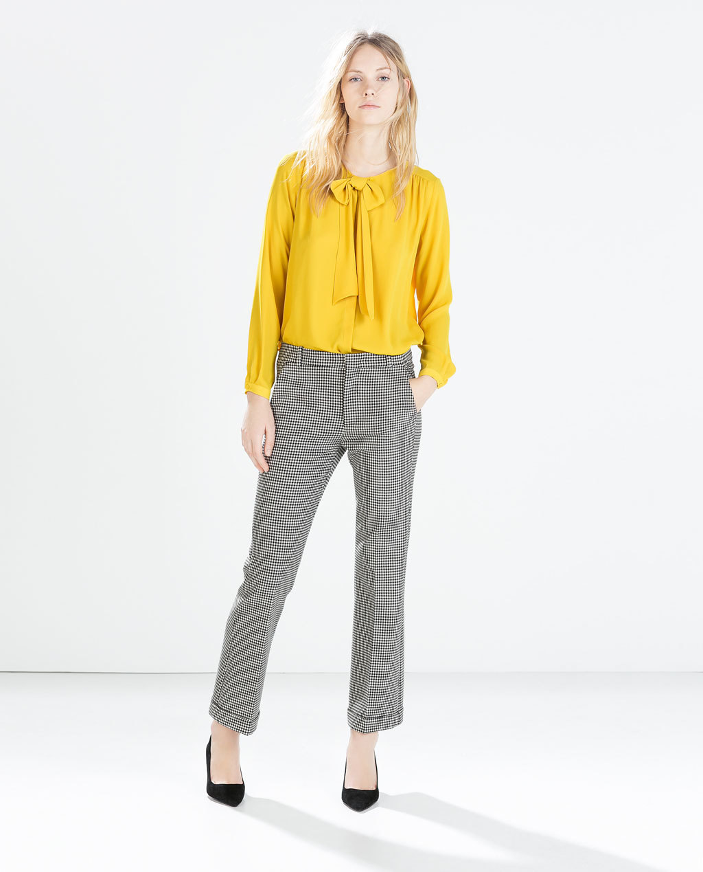 Shirt With Bow Collar - pattern: plain; style: shirt; neckline: pussy bow; predominant colour: mustard; occasions: casual, work, creative work; length: standard; fibres: polyester/polyamide - 100%; fit: straight cut; sleeve length: long sleeve; sleeve style: standard; texture group: sheer fabrics/chiffon/organza etc.; season: a/w 2014