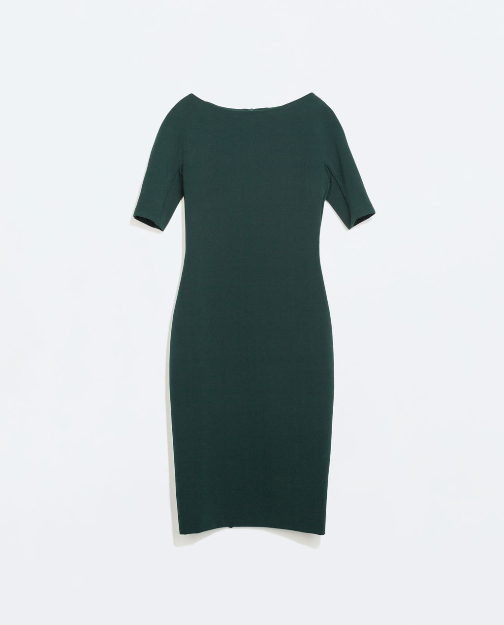 Long Shift Dress - length: below the knee; neckline: slash/boat neckline; fit: tailored/fitted; pattern: plain; style: bodycon; predominant colour: dark green; occasions: work, creative work; sleeve length: half sleeve; sleeve style: standard; pattern type: fabric; texture group: jersey - stretchy/drapey; trends: zesty shades, minimal sleek; season: a/w 2014