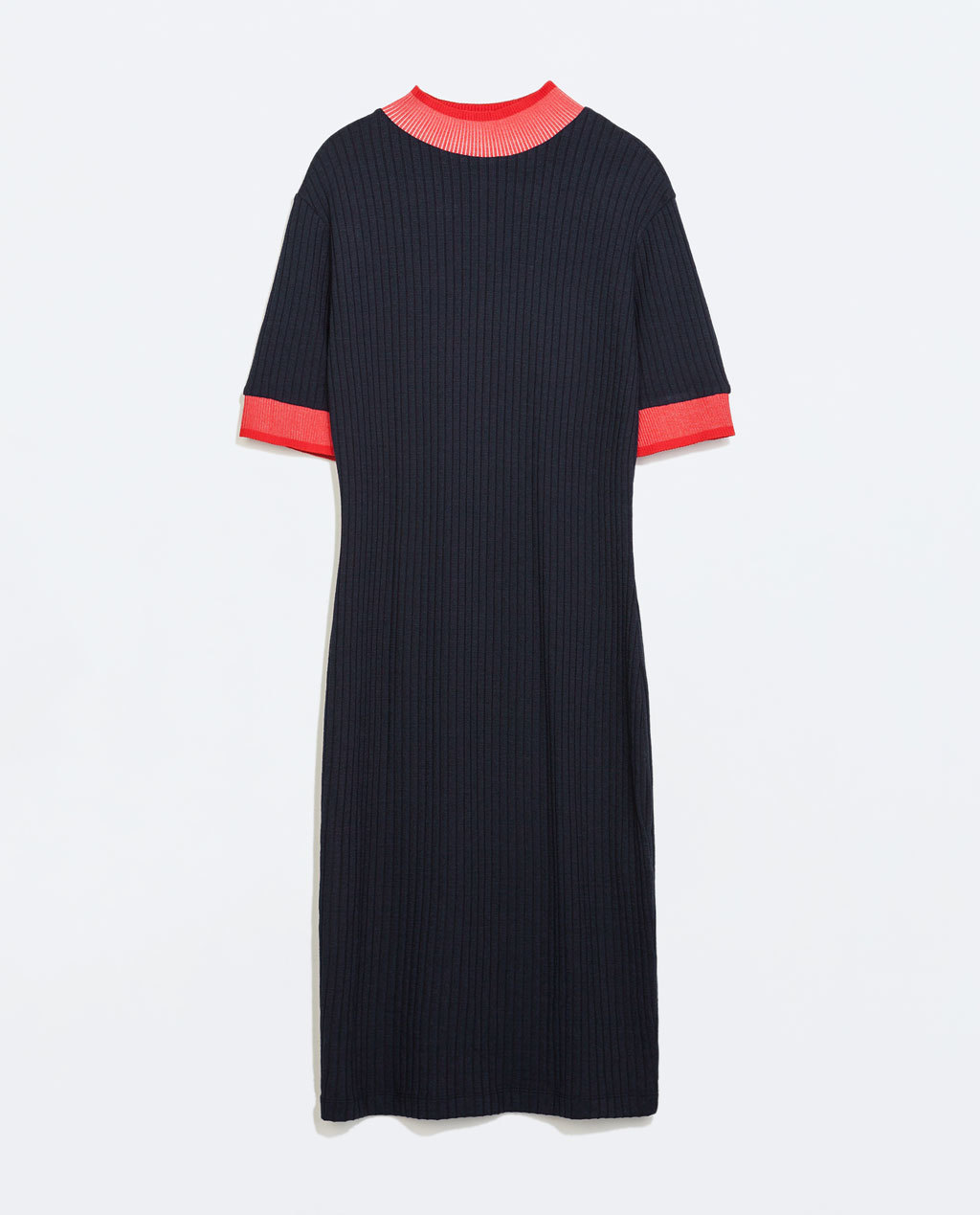 Ribbed Dress - style: shift; length: below the knee; fit: tight; pattern: plain; predominant colour: navy; secondary colour: bright orange; occasions: casual, creative work; neckline: crew; sleeve length: half sleeve; sleeve style: standard; texture group: knits/crochet; pattern type: knitted - fine stitch; season: a/w 2014