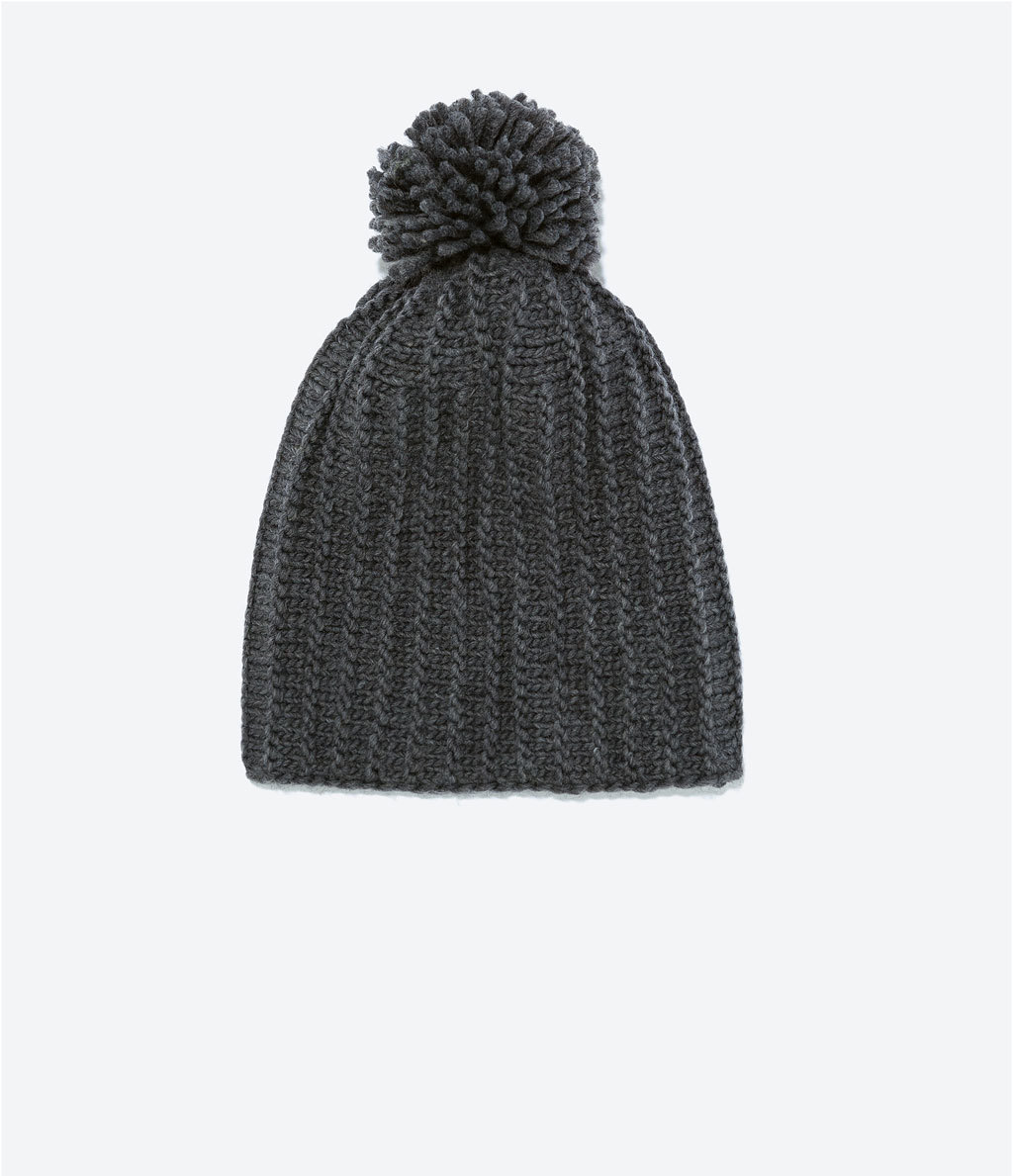 Knitted Hat - predominant colour: dark green; occasions: casual; style: bobble; size: standard; material: knits; pattern: plain; embellishment: pompom; season: a/w 2014