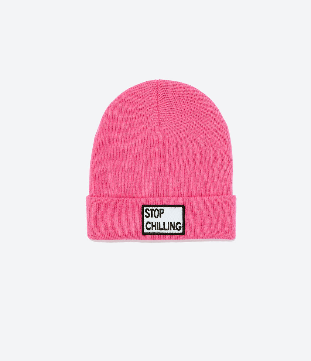 Knit Hat With Text - predominant colour: pink; occasions: casual; type of pattern: standard; style: beanie; size: standard; material: knits; pattern: plain; season: a/w 2014