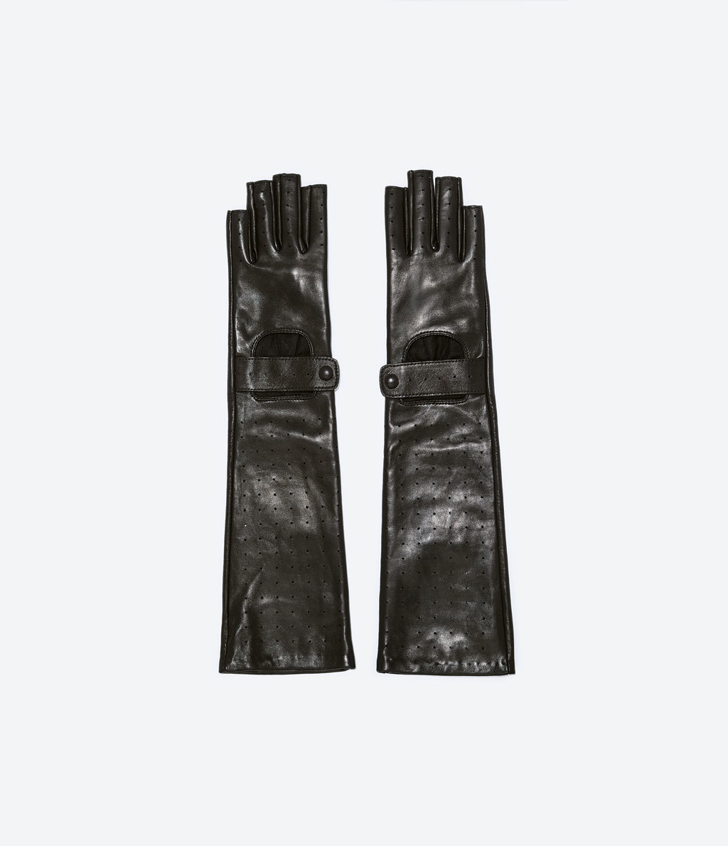 Fingerless Gloves - predominant colour: black; occasions: casual, evening, creative work; style: fingerless; length: half; pattern: plain; material: faux leather; season: a/w 2014
