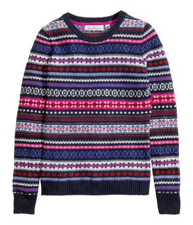 Jacquard Knit Jumper - style: standard; secondary colour: burgundy; predominant colour: royal blue; occasions: casual, creative work; length: standard; fibres: wool - mix; fit: standard fit; neckline: crew; pattern: fairisle; sleeve length: long sleeve; sleeve style: standard; texture group: knits/crochet; pattern type: knitted - other; pattern size: standard; season: a/w 2014