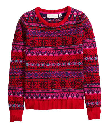 Jacquard Knit Jumper - style: standard; secondary colour: purple; occasions: casual, creative work; length: standard; fibres: wool - mix; fit: standard fit; neckline: crew; pattern: fairisle; sleeve length: long sleeve; sleeve style: standard; texture group: knits/crochet; pattern type: knitted - other; pattern size: standard; predominant colour: raspberry; trends: christmas jumpers; season: a/w 2014