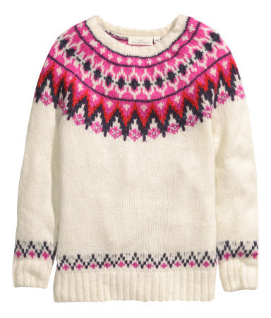 Jacquard Knit Jumper - neckline: round neck; style: standard; predominant colour: blush; occasions: casual, creative work; length: standard; fibres: wool - mix; fit: standard fit; sleeve length: long sleeve; sleeve style: standard; texture group: knits/crochet; pattern type: knitted - other; pattern size: standard; pattern: patterned/print; secondary colour: dusky pink; season: a/w 2014