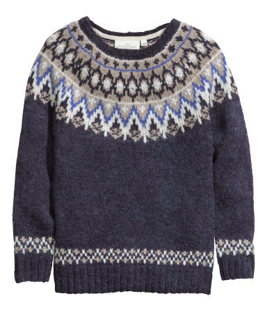 Jacquard Knit Jumper - neckline: round neck; style: standard; predominant colour: navy; secondary colour: mid grey; occasions: casual, creative work; length: standard; fibres: wool - mix; fit: standard fit; sleeve length: long sleeve; sleeve style: standard; texture group: knits/crochet; pattern type: knitted - other; pattern size: standard; pattern: patterned/print; season: a/w 2014