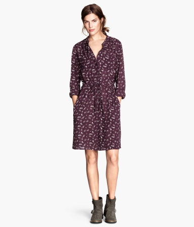 Patterned Dress - style: shirt; fit: fitted at waist; predominant colour: aubergine; secondary colour: aubergine; occasions: casual, evening, creative work; length: just above the knee; neckline: collarstand; sleeve length: long sleeve; sleeve style: standard; pattern size: big & busy; pattern: patterned/print; texture group: other - light to midweight; trends: zesty shades; season: a/w 2014