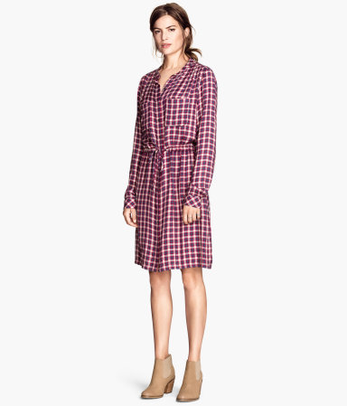 Patterned Dress - style: shirt; pattern: checked/gingham; occasions: casual, creative work; length: just above the knee; fit: straight cut; neckline: collarstand & mandarin with v-neck; predominant colour: multicoloured; sleeve length: long sleeve; sleeve style: standard; pattern type: fabric; pattern size: standard; texture group: woven light midweight; trends: optic prints; season: a/w 2014; multicoloured: multicoloured