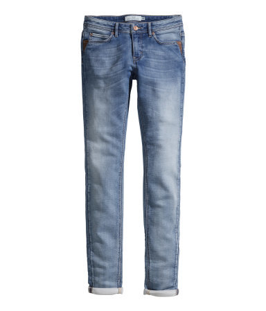 Treggings - length: standard; pattern: plain; waist: low rise; pocket detail: traditional 5 pocket; predominant colour: denim; occasions: casual, creative work; fibres: cotton - stretch; texture group: denim; season: a/w 2014