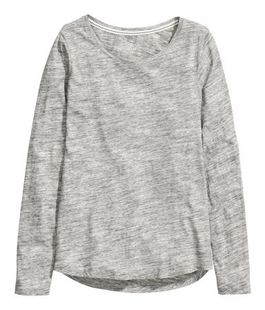 Long Sleeved T Shirt - neckline: round neck; pattern: plain; style: t-shirt; predominant colour: light grey; occasions: casual, creative work; length: standard; fibres: cotton - 100%; fit: body skimming; sleeve length: long sleeve; sleeve style: standard; texture group: jersey - stretchy/drapey; season: a/w 2014