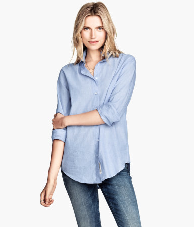 Cotton Shirt - neckline: shirt collar/peter pan/zip with opening; pattern: plain; length: below the bottom; style: shirt; predominant colour: pale blue; occasions: casual, creative work; fibres: cotton - 100%; fit: body skimming; sleeve length: 3/4 length; sleeve style: standard; texture group: cotton feel fabrics; season: a/w 2014