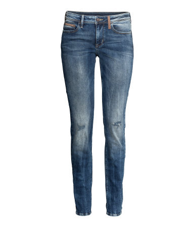 Jeans Slim Fit - length: standard; pattern: plain; pocket detail: traditional 5 pocket; style: slim leg; waist: mid/regular rise; predominant colour: denim; occasions: casual, creative work; fibres: cotton - stretch; jeans detail: whiskering, shading down centre of thigh; texture group: denim; season: a/w 2014
