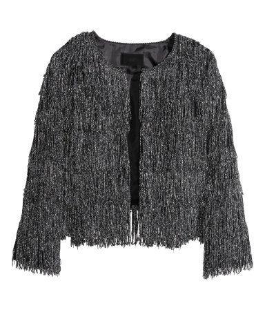 Fringed Jacket - pattern: plain; bust detail: added detail/embellishment at bust; collar: round collar/collarless; style: boxy; secondary colour: silver; predominant colour: charcoal; occasions: evening, creative work; length: standard; fit: straight cut (boxy); fibres: polyester/polyamide - stretch; sleeve length: long sleeve; sleeve style: standard; collar break: low/open; pattern type: fabric; texture group: woven light midweight; embellishment: fringing; season: a/w 2014