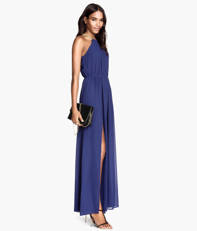Maxi Dress - fit: fitted at waist; pattern: plain; sleeve style: sleeveless; style: maxi dress; length: ankle length; neckline: low halter neck; predominant colour: navy; occasions: evening, occasion; fibres: polyester/polyamide - 100%; sleeve length: sleeveless; texture group: sheer fabrics/chiffon/organza etc.; season: a/w 2014