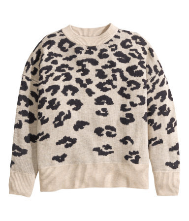 + Jacquard Knit Jumper - style: standard; predominant colour: stone; secondary colour: black; occasions: casual, creative work; length: standard; fibres: wool - mix; fit: standard fit; neckline: crew; sleeve length: long sleeve; sleeve style: standard; texture group: knits/crochet; pattern type: knitted - fine stitch; pattern: animal print; season: a/w 2014