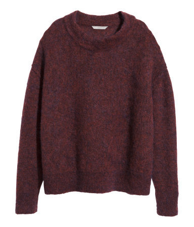 + Jumper In A Mohair Blend - neckline: round neck; pattern: plain; style: standard; predominant colour: burgundy; occasions: casual, creative work; length: standard; fibres: wool - mix; fit: standard fit; sleeve length: long sleeve; sleeve style: standard; texture group: knits/crochet; season: a/w 2014