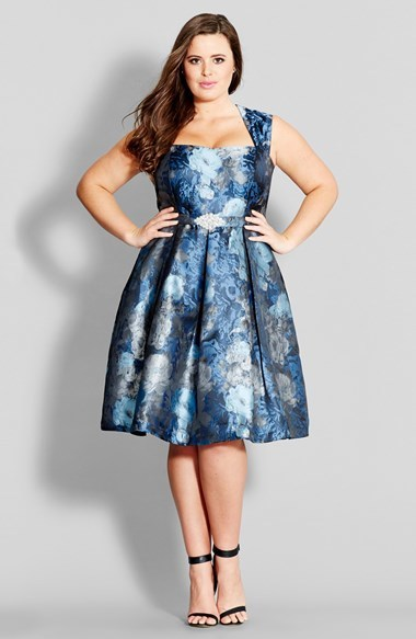 'brocade Belle' Embellished Fit & Flare Dress (Plus Size) - sleeve style: sleeveless; predominant colour: royal blue; secondary colour: pale blue; occasions: evening, occasion; length: on the knee; fit: fitted at waist & bust; style: fit & flare; fibres: polyester/polyamide - 100%; hip detail: adds bulk at the hips; sleeve length: sleeveless; texture group: structured shiny - satin/tafetta/silk etc.; neckline: low square neck; pattern type: fabric; pattern size: standard; pattern: florals; season: a/w 2014