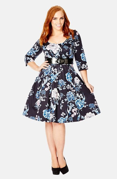 'wild Crane' Belted Print Fit & Flare Dress (Plus Size) - waist detail: belted waist/tie at waist/drawstring; secondary colour: royal blue; predominant colour: black; occasions: casual, occasion, creative work; length: on the knee; fit: fitted at waist & bust; style: fit & flare; neckline: scoop; fibres: cotton - stretch; sleeve length: 3/4 length; sleeve style: standard; pattern type: fabric; pattern size: standard; pattern: florals; texture group: woven light midweight; season: a/w 2014