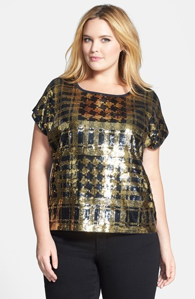 Sequin Plaid Front Top (Plus Size) - neckline: round neck; predominant colour: gold; secondary colour: black; occasions: casual, evening, creative work; length: standard; style: top; fibres: cotton - mix; fit: straight cut; sleeve length: short sleeve; sleeve style: standard; pattern type: fabric; pattern size: standard; pattern: patterned/print; texture group: other - light to midweight; embellishment: sequins; season: a/w 2014