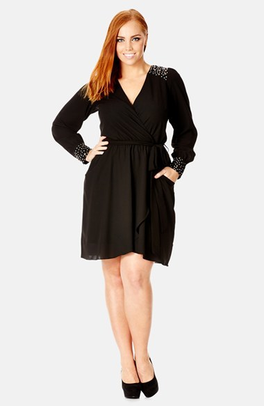 Embellished Faux Wrap Tunic (Plus Size) - style: faux wrap/wrap; length: mid thigh; neckline: low v-neck; pattern: plain; predominant colour: black; occasions: evening, occasion, creative work; fit: fitted at waist & bust; fibres: polyester/polyamide - 100%; shoulder detail: added shoulder detail; sleeve length: long sleeve; sleeve style: standard; pattern type: fabric; texture group: jersey - stretchy/drapey; embellishment: beading; season: a/w 2014