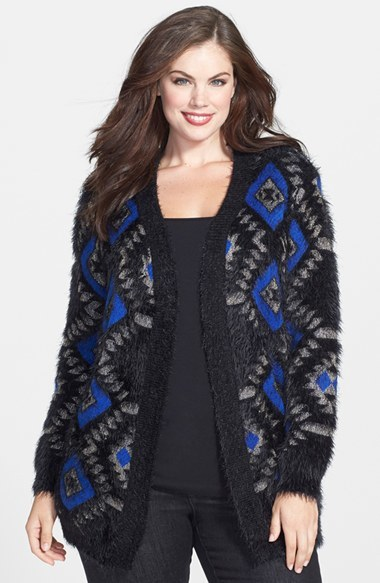 'winter Princess' Eyelash Knit Cardigan (Plus Size) - length: below the bottom; neckline: collarless open; style: open front; secondary colour: royal blue; predominant colour: black; occasions: casual, creative work; fibres: nylon - 100%; fit: loose; sleeve length: long sleeve; sleeve style: standard; texture group: knits/crochet; pattern type: knitted - other; pattern size: standard; pattern: patterned/print; season: a/w 2014