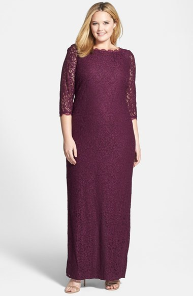 Scalloped Lace Gown (Plus Size) - style: ballgown; neckline: round neck; length: ankle length; predominant colour: purple; occasions: evening, occasion; fit: body skimming; fibres: viscose/rayon - stretch; sleeve length: 3/4 length; sleeve style: standard; texture group: lace; pattern: patterned/print; season: a/w 2014