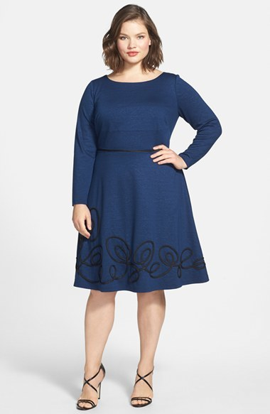 Fit & Flare Dress With Soutache Trim (Plus Size) - length: below the knee; neckline: round neck; pattern: plain; predominant colour: navy; secondary colour: black; occasions: casual, creative work; fit: fitted at waist & bust; style: fit & flare; fibres: polyester/polyamide - stretch; sleeve length: long sleeve; sleeve style: standard; pattern type: fabric; texture group: jersey - stretchy/drapey; embellishment: applique; season: a/w 2014; wardrobe: highlight; embellishment location: hem