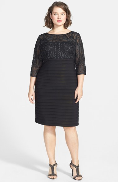 Passementerie Embellished Dress (Encore) - style: shift; neckline: slash/boat neckline; fit: tailored/fitted; pattern: plain; predominant colour: black; occasions: evening, occasion; length: on the knee; fibres: polyester/polyamide - stretch; hip detail: adds bulk at the hips; sleeve length: 3/4 length; sleeve style: standard; pattern type: fabric; texture group: other - light to midweight; embellishment: lace; season: a/w 2014; wardrobe: event; embellishment location: top