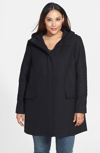 Wool Blend Duffle Coat (Plus Size) - pattern: plain; collar: funnel; style: single breasted; length: mid thigh; predominant colour: black; occasions: casual; fit: straight cut (boxy); fibres: wool - mix; sleeve length: long sleeve; sleeve style: standard; texture group: technical outdoor fabrics; season: a/w 2014