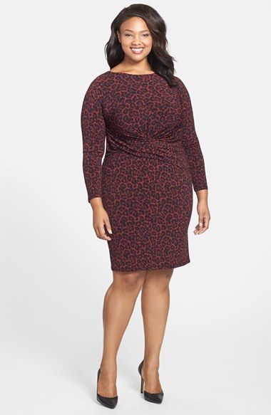 'ellensberg' Boatneck Dress (Plus Size) - style: shift; neckline: slash/boat neckline; waist detail: flattering waist detail; predominant colour: burgundy; secondary colour: black; occasions: casual, evening, creative work; length: just above the knee; fit: body skimming; fibres: polyester/polyamide - stretch; sleeve length: 3/4 length; sleeve style: standard; texture group: jersey - clingy; pattern type: fabric; pattern size: standard; pattern: animal print; season: a/w 2014