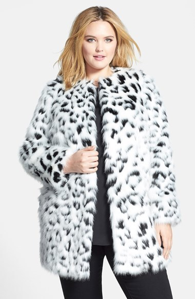 Collarless Faux Fur Coat (Plus Size) - collar: round collar/collarless; length: mid thigh; predominant colour: white; secondary colour: charcoal; occasions: casual, evening, occasion, creative work; fit: straight cut (boxy); fibres: acrylic - mix; style: fur coat; sleeve length: long sleeve; sleeve style: standard; texture group: fur; collar break: high; pattern size: standard; pattern: animal print; season: a/w 2014