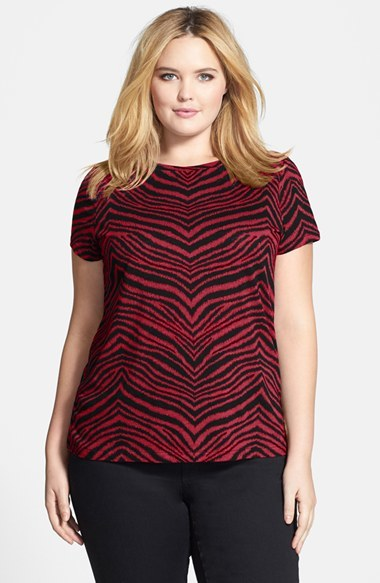 'zebra Chevron' Logo Tee (Plus Size) - neckline: round neck; style: t-shirt; predominant colour: burgundy; secondary colour: aubergine; occasions: casual, creative work; length: standard; fibres: cotton - 100%; fit: body skimming; sleeve length: short sleeve; sleeve style: standard; pattern type: fabric; pattern size: standard; pattern: animal print; texture group: jersey - stretchy/drapey; season: a/w 2014