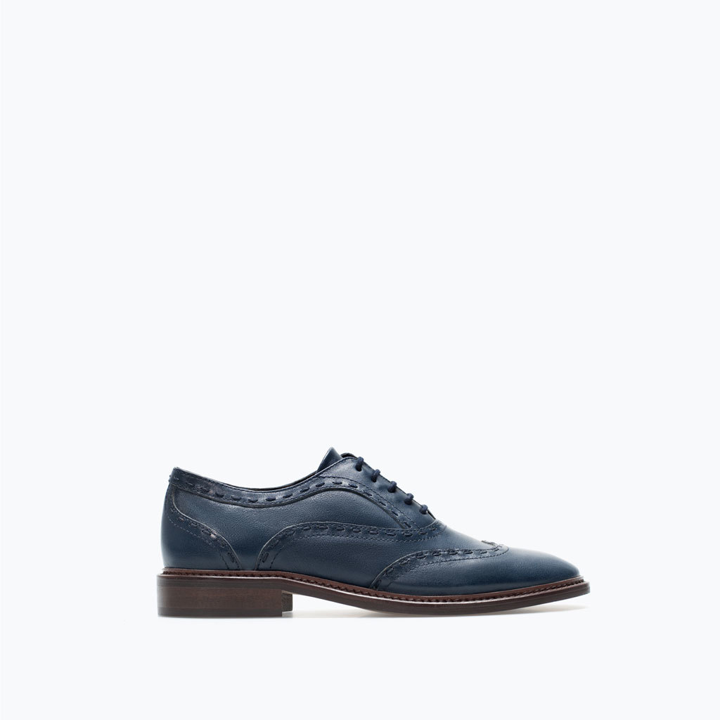Leather Blucher - predominant colour: denim; occasions: casual, creative work; material: leather; heel height: flat; toe: round toe; style: brogues; finish: plain; pattern: plain; season: a/w 2014