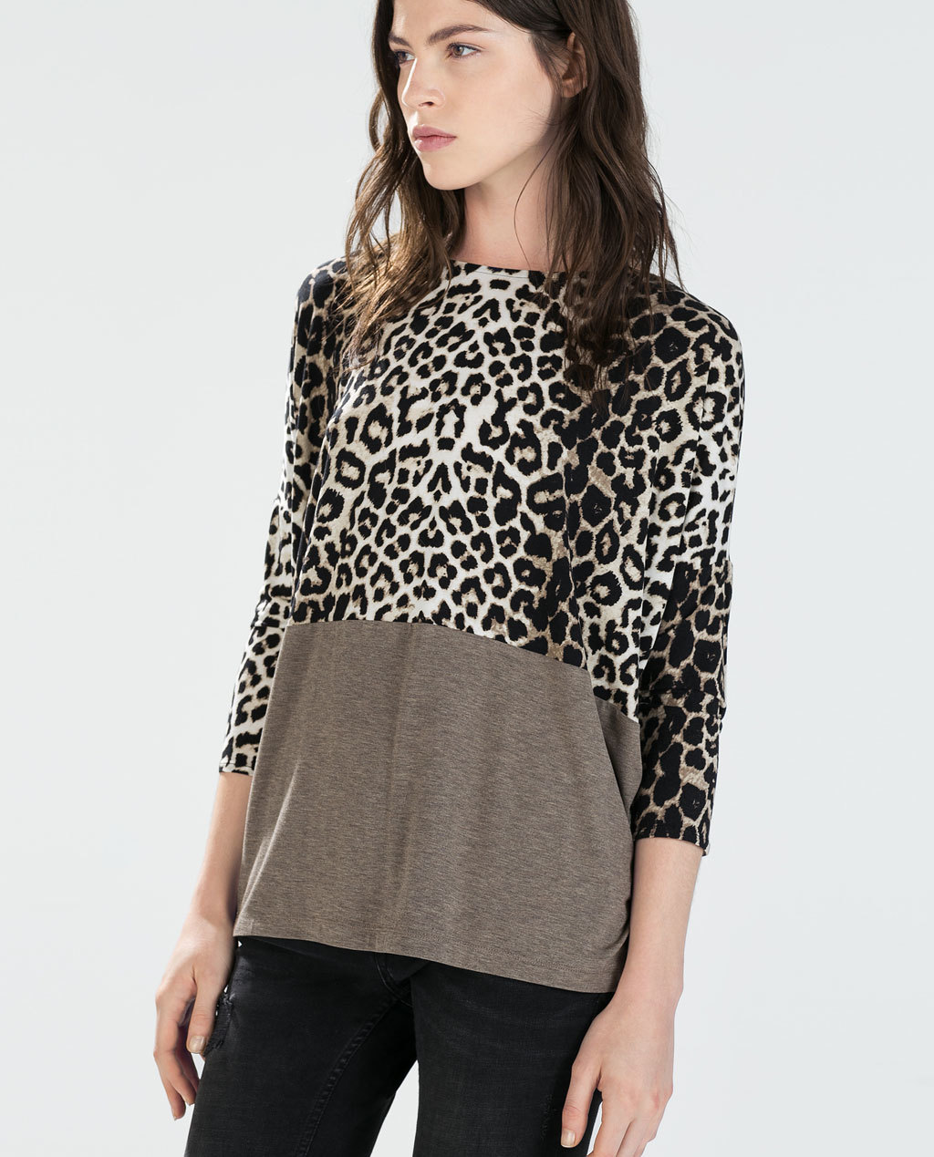 3/4 Sleeve T Shirt - sleeve style: dolman/batwing; style: t-shirt; predominant colour: camel; secondary colour: black; occasions: casual, creative work; length: standard; fit: loose; neckline: crew; sleeve length: 3/4 length; pattern type: fabric; pattern size: standard; pattern: animal print; texture group: jersey - stretchy/drapey; season: a/w 2014