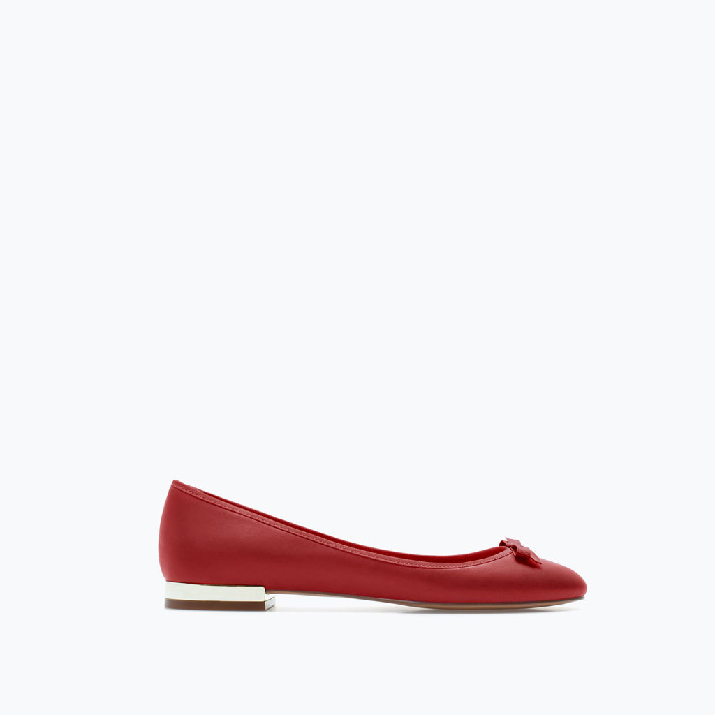 Metal Plaque Ballet Flat - predominant colour: true red; occasions: casual, creative work; material: faux leather; heel height: flat; toe: round toe; style: ballerinas / pumps; finish: plain; pattern: plain; season: a/w 2014