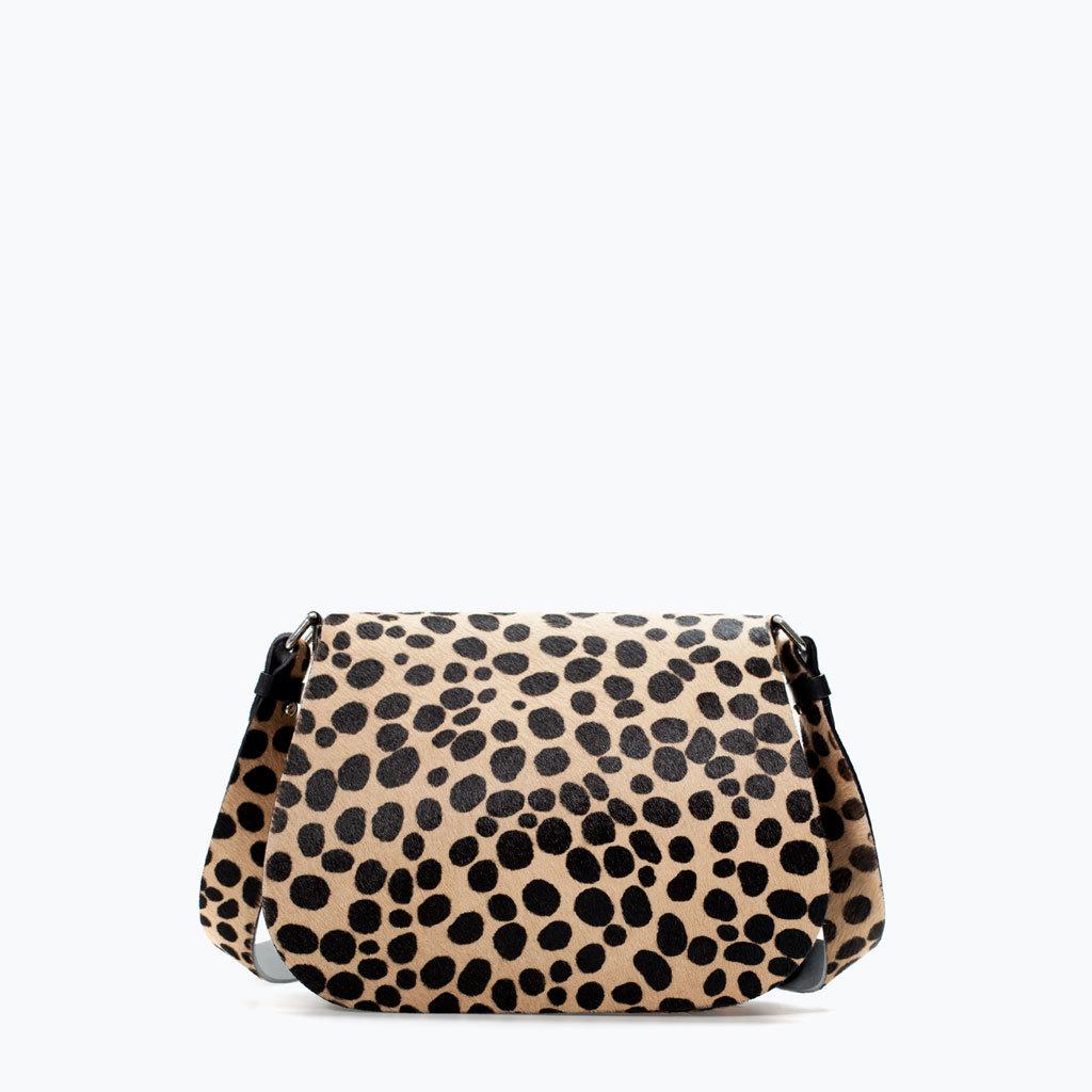 Printed Leather Messenger Bag - predominant colour: camel; secondary colour: black; occasions: casual, work, creative work; type of pattern: standard; style: messenger; length: across body/long; size: standard; material: animal skin; pattern: animal print; finish: plain; season: a/w 2014