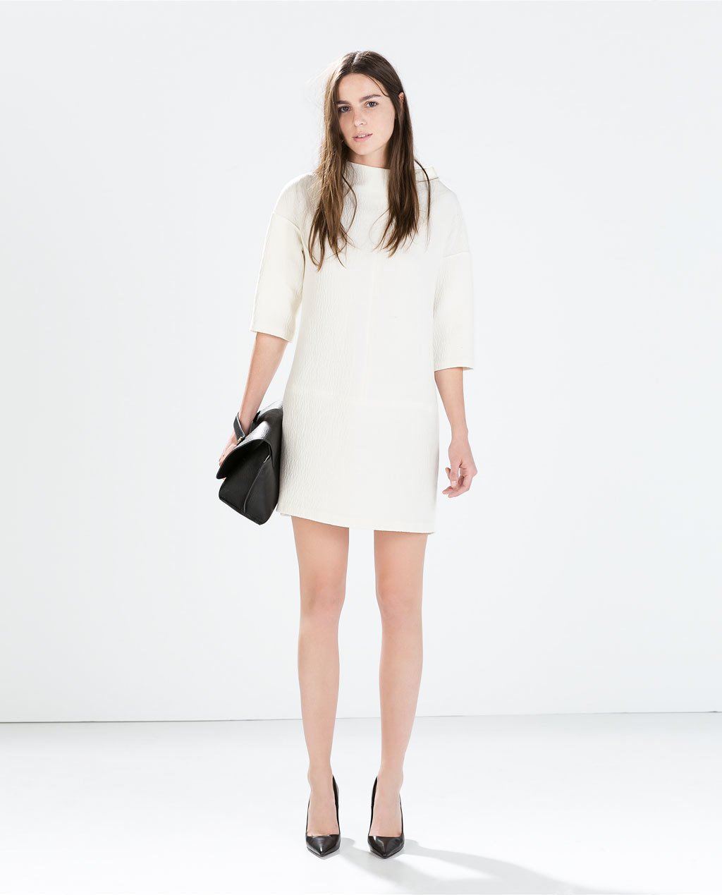 Textured Dress - style: shift; length: mid thigh; pattern: plain; neckline: high neck; predominant colour: ivory/cream; occasions: evening, creative work; fit: straight cut; sleeve length: 3/4 length; sleeve style: standard; pattern type: fabric; texture group: woven light midweight; season: a/w 2014