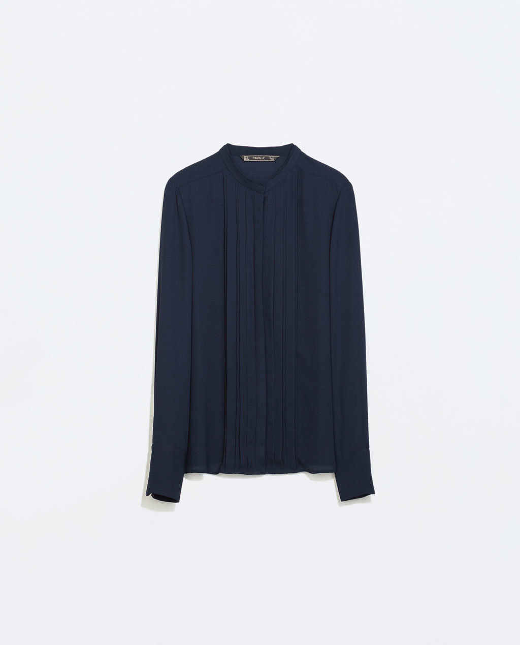 Shirt With Fine Pleats - neckline: shirt collar/peter pan/zip with opening; pattern: plain; style: shirt; predominant colour: navy; occasions: casual, work, creative work; length: standard; fibres: polyester/polyamide - 100%; fit: straight cut; sleeve length: long sleeve; sleeve style: standard; pattern type: fabric; texture group: other - light to midweight; season: a/w 2014