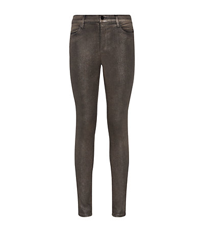 Coated Stocking Super Skinny Jeans - style: skinny leg; length: standard; pattern: plain; pocket detail: traditional 5 pocket; waist: mid/regular rise; predominant colour: black; occasions: casual, evening, creative work; fibres: cotton - stretch; texture group: denim; pattern type: fabric; season: a/w 2014