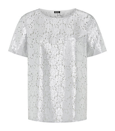 Metallic Lace T Shirt - neckline: round neck; pattern: plain; style: t-shirt; predominant colour: silver; occasions: casual, evening, creative work; length: standard; fibres: nylon - mix; fit: straight cut; sleeve length: short sleeve; sleeve style: standard; pattern type: fabric; texture group: other - light to midweight; embellishment: lace; season: a/w 2014