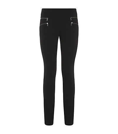 Zip Front Leggings - pattern: plain; style: leggings; pocket detail: pockets at the sides; waist: mid/regular rise; predominant colour: black; occasions: casual, evening, creative work, activity; length: ankle length; fibres: viscose/rayon - stretch; hip detail: added detail/embellishment at hip; texture group: jersey - clingy; fit: skinny/tight leg; pattern type: fabric; embellishment: zips; season: a/w 2014