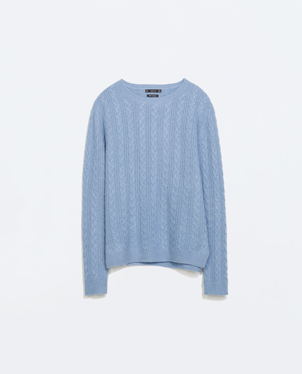 Cableknit Cashmere Sweater - neckline: round neck; style: standard; pattern: cable knit; predominant colour: pale blue; occasions: casual, creative work; length: standard; fit: standard fit; fibres: cashmere - 100%; sleeve length: long sleeve; sleeve style: standard; texture group: knits/crochet; pattern type: knitted - fine stitch; pattern size: standard; trends: statement knits; season: a/w 2014