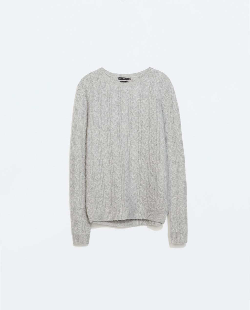 Cableknit Cashmere Sweater - neckline: round neck; style: standard; pattern: cable knit; predominant colour: light grey; occasions: casual, creative work; length: standard; fit: standard fit; fibres: cashmere - 100%; sleeve length: long sleeve; sleeve style: standard; texture group: knits/crochet; pattern type: knitted - fine stitch; season: a/w 2014