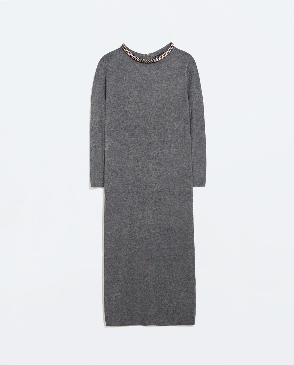 Dress With Detail On The Collar - style: jumper dress; neckline: round neck; pattern: plain; predominant colour: light grey; occasions: casual, creative work; length: just above the knee; fit: body skimming; fibres: viscose/rayon - stretch; sleeve length: half sleeve; sleeve style: standard; pattern type: fabric; texture group: other - light to midweight; embellishment: beading; season: a/w 2014; wardrobe: highlight; embellishment location: waist