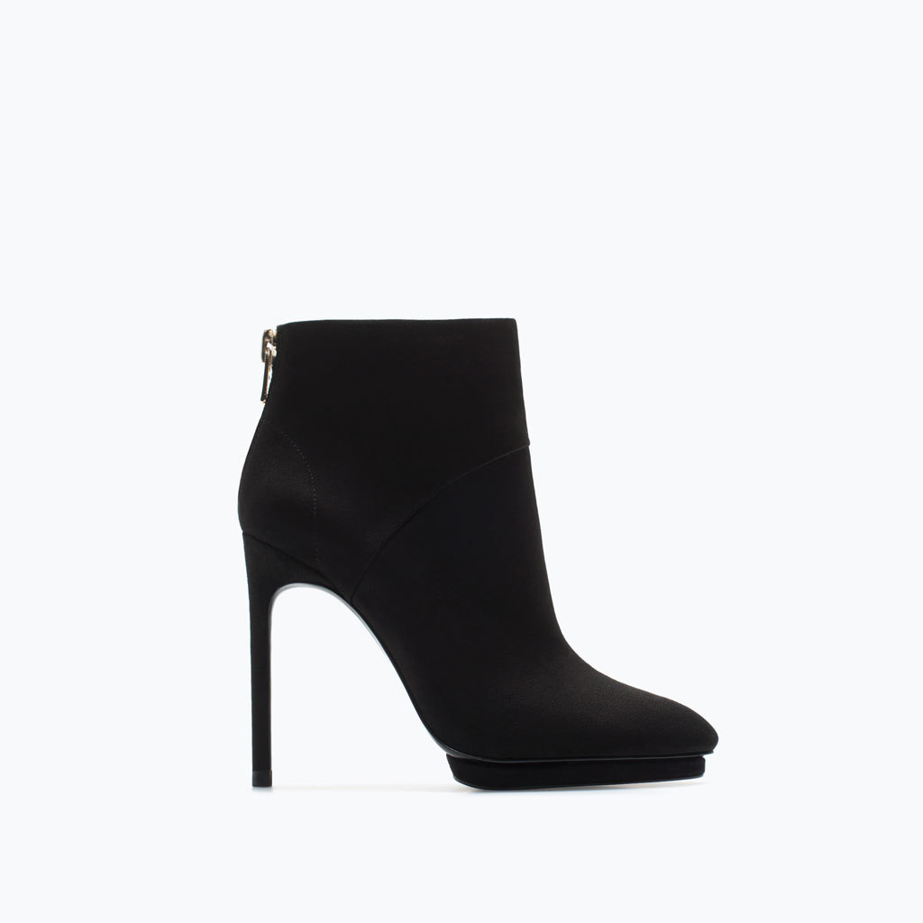 High Heel Suede Platform Ankle Boot - predominant colour: black; material: faux leather; heel: stiletto; toe: pointed toe; boot length: ankle boot; style: standard; finish: plain; pattern: plain; heel height: very high; occasions: creative work; shoe detail: platform; season: a/w 2014